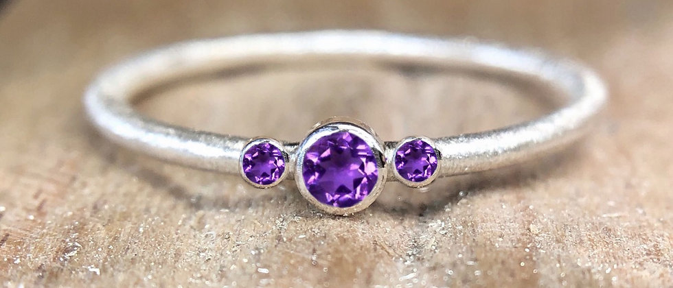 Trilogy Amethyst Textured Stacking Ring