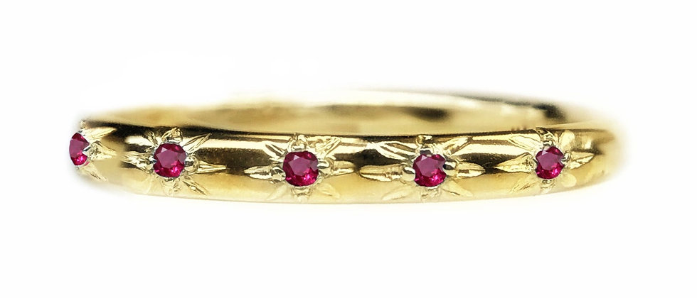 Ruby Star Set 18ct Gold Ring
