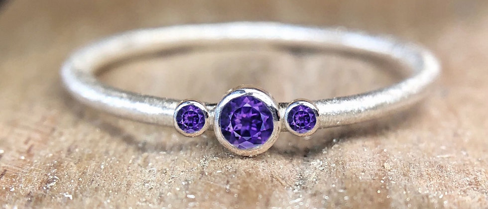 Trinity Amethyst Textured Stacking Ring