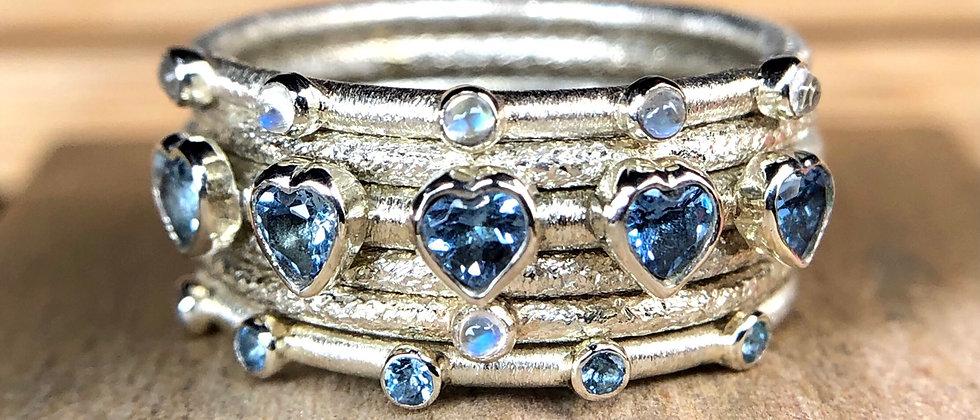 Aquamarine and Moonstone Stack Ring Set