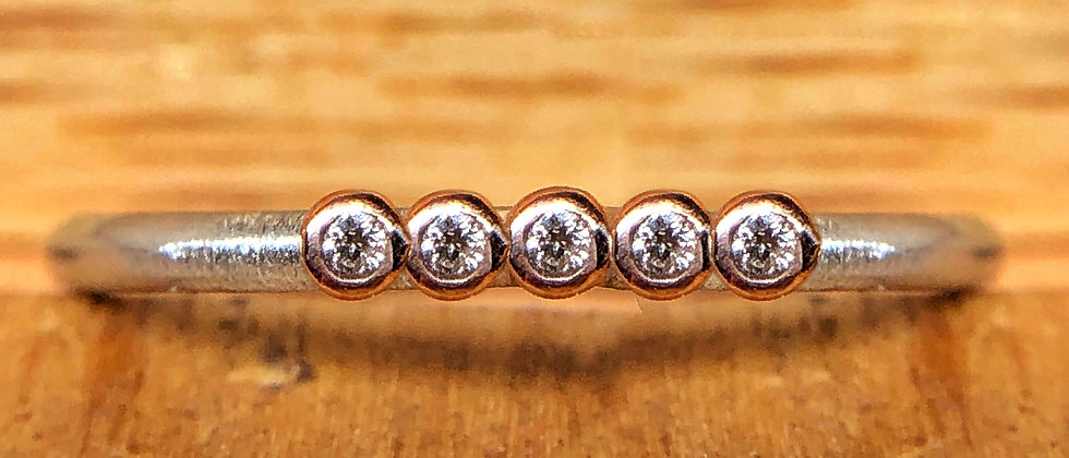 Five Diamond Rose Gold and Silver Ring