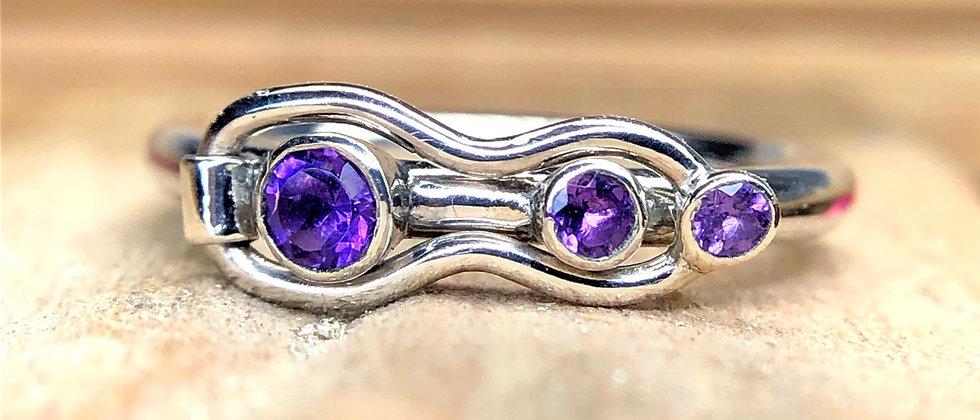 Amethyst Three Stone Fidget Ring