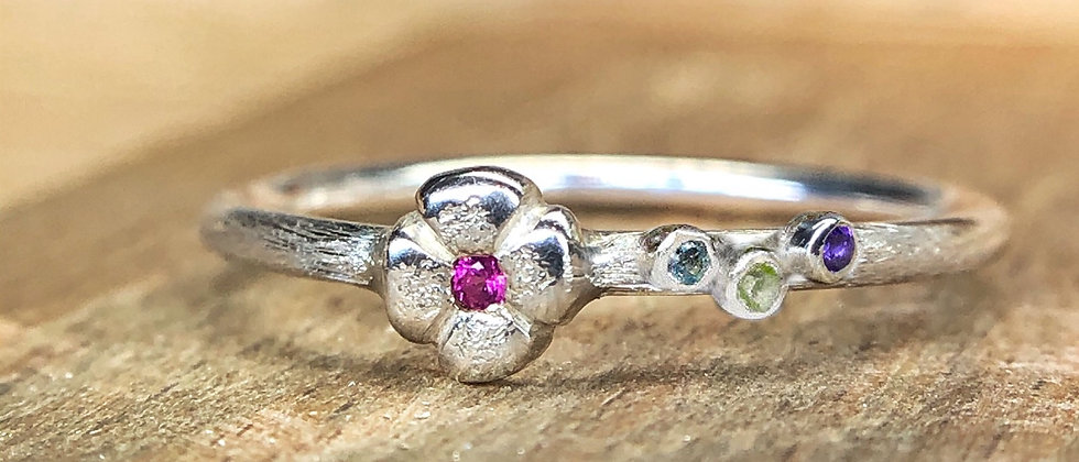 Pink Sapphire Flower Ring With Side Stones