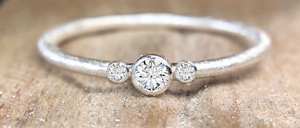 Trilogy Diamond 18ct White Gold Textured Stacking Ring