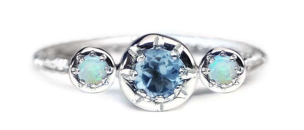 Trilogy Aquamarine and Opal Ring