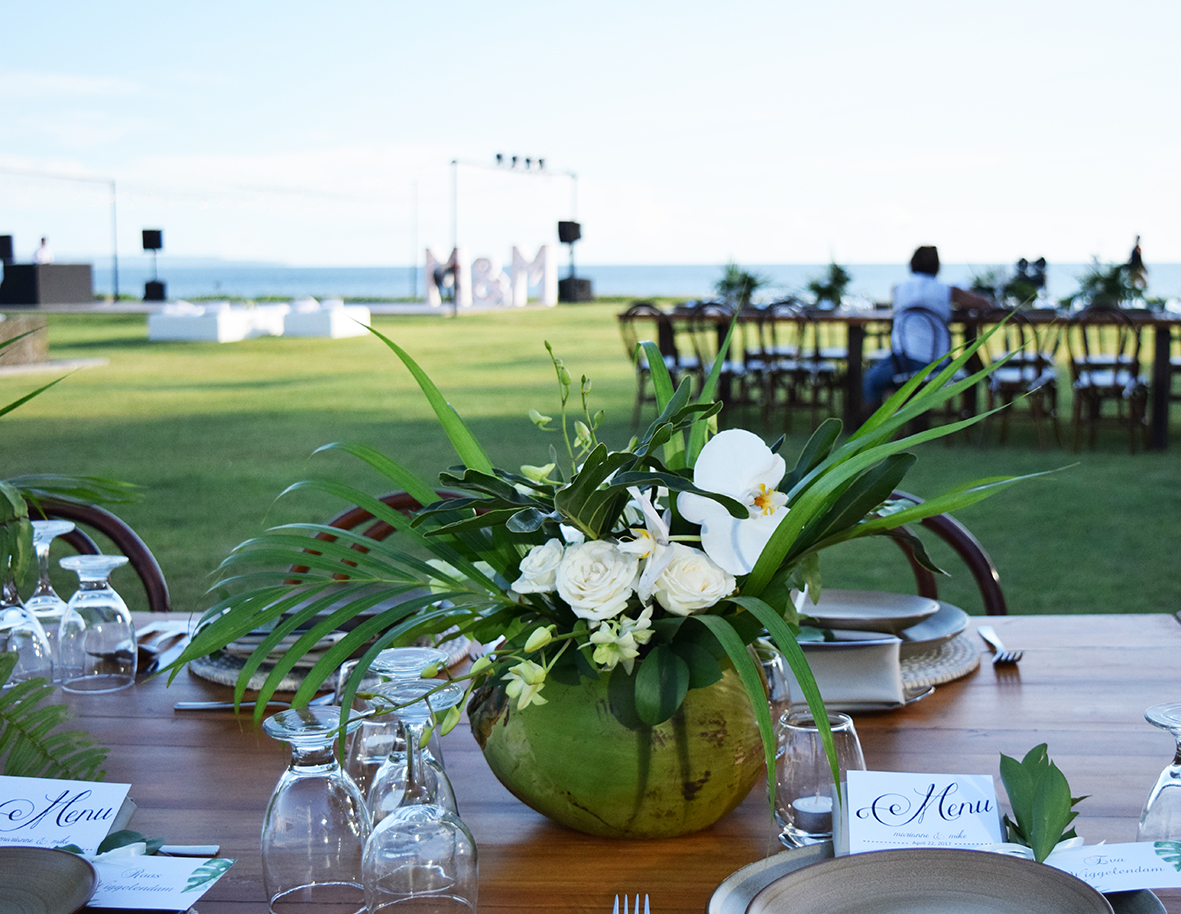 tropical wedding arrangement