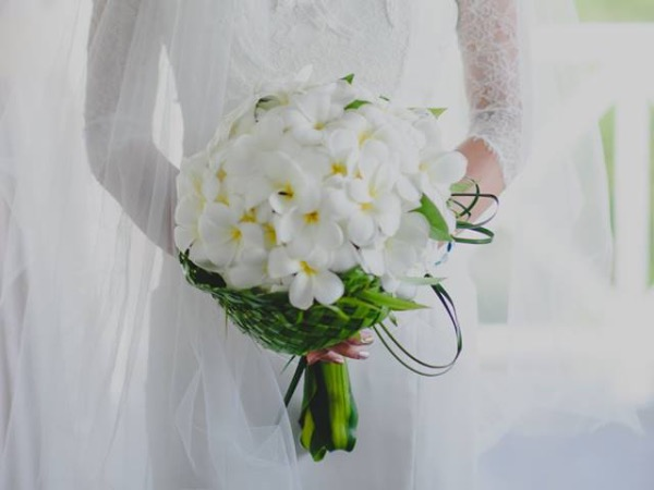 frangipani wedding flower bouquet