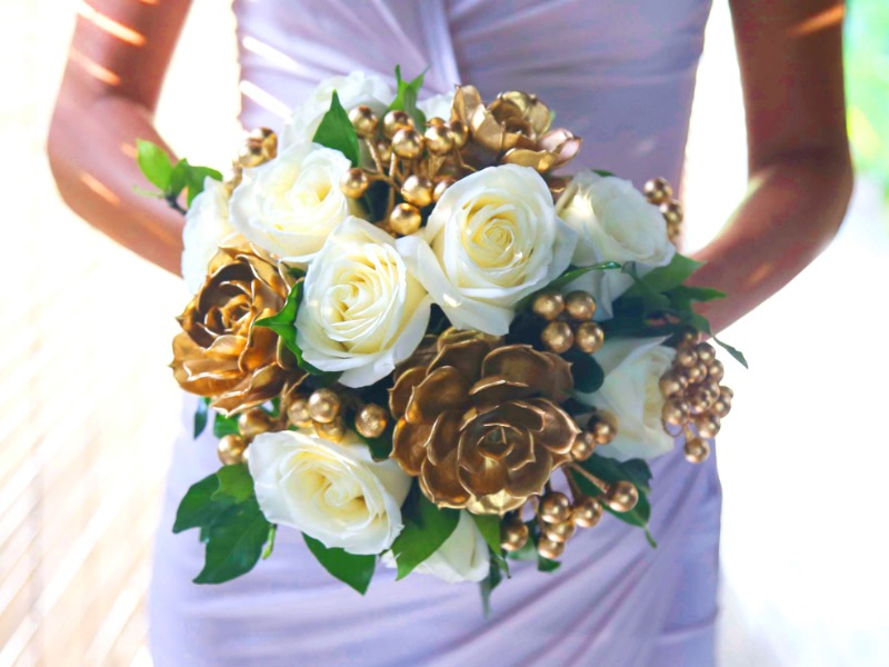 gold wedding flower bouquet bali