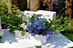 blue-white wedding decor detail bali
