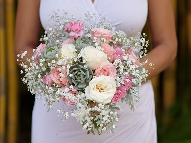 pink wedding flower bouquet bali