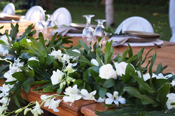 white and green wedding in Bali