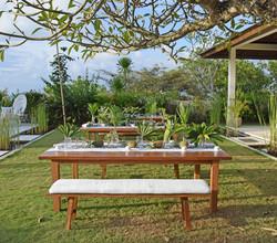tropical wedding reception set up