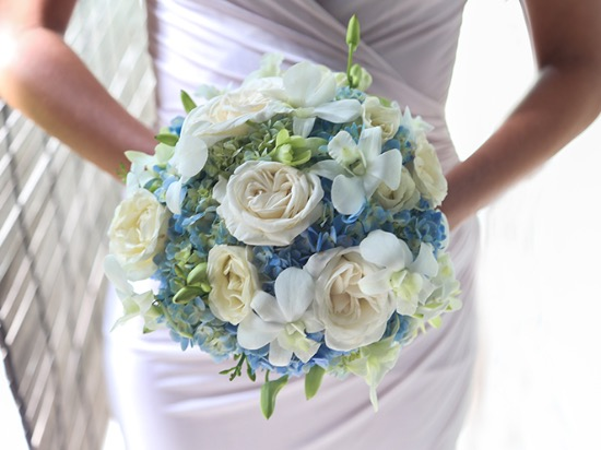 white-blue wedding flower bali