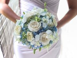 white-blue wedding flower bali