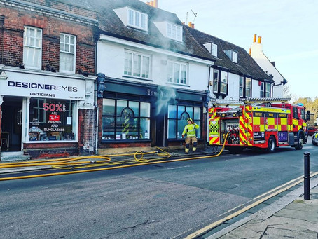 Emergency services rush to building fire in Hertford town centre