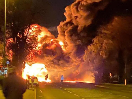 Emergency services at massive blaze after lorry fire in St Ives