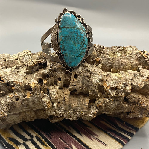 Turquoise and Feather Cuff Bracelet