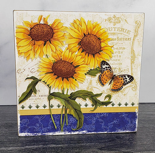 """Sunflower & Butterfly Box Sign, 6"""""""