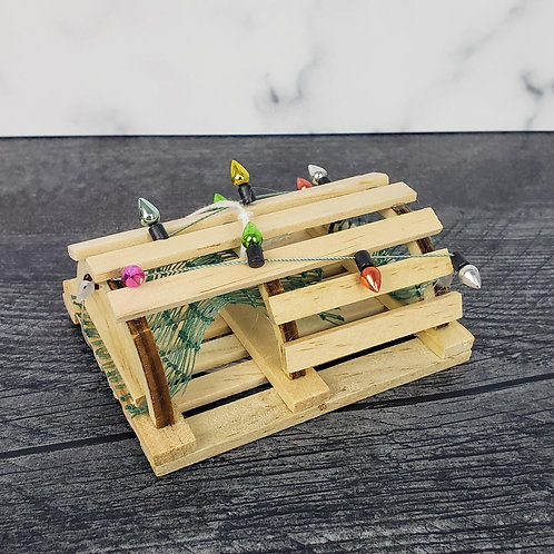 Wooden Decorated Lobster Trap Ornament