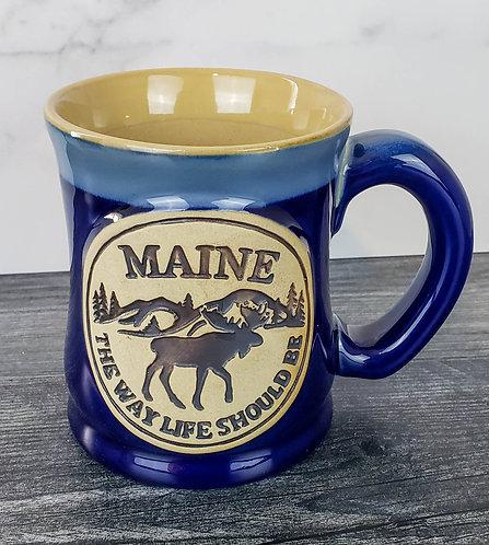 Maine Moose & Mountains Artisan Pottery Mug
