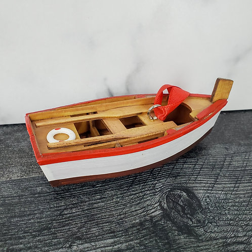 Wooden Row Boat Ornament