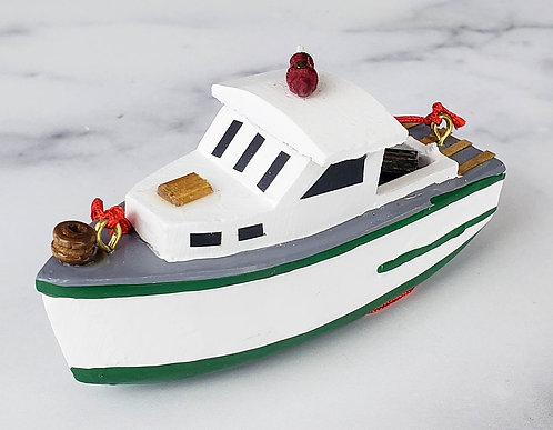 Wooden Lobster Boat Ornament