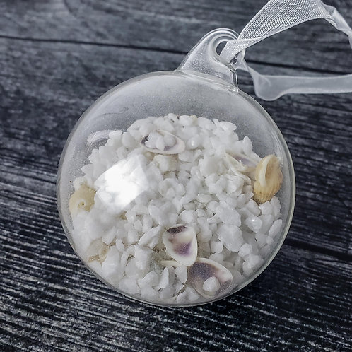 Glass Ball Ornament w/Sand and Shell