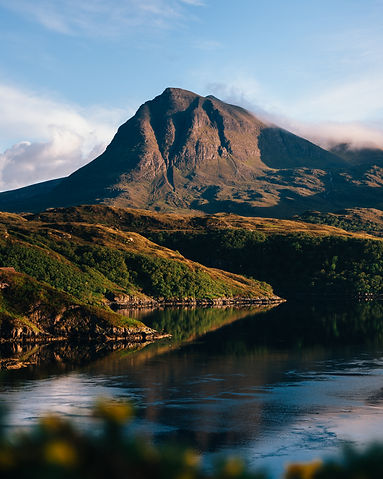 Mountains at sunset in the Scottish Highlands