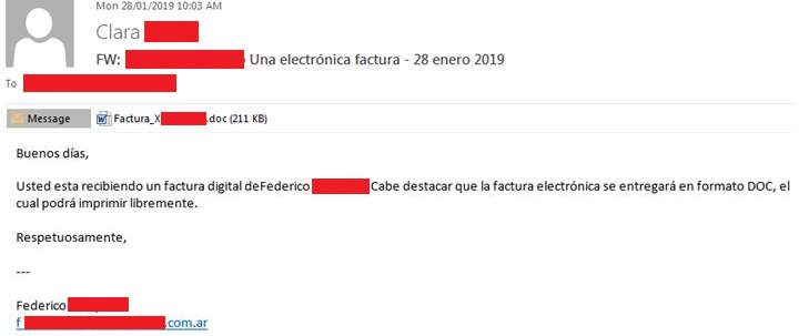 Muestra de Email Falso