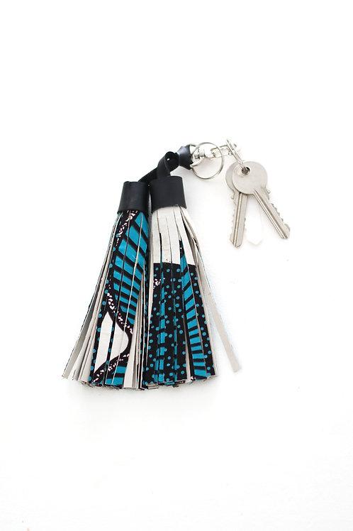 Double tassel blue key ring 2