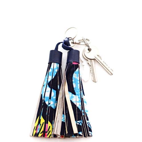 Double tassel blue key ring