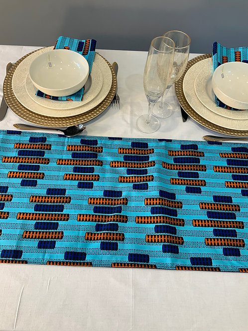 Ankara table runner with matching napkins