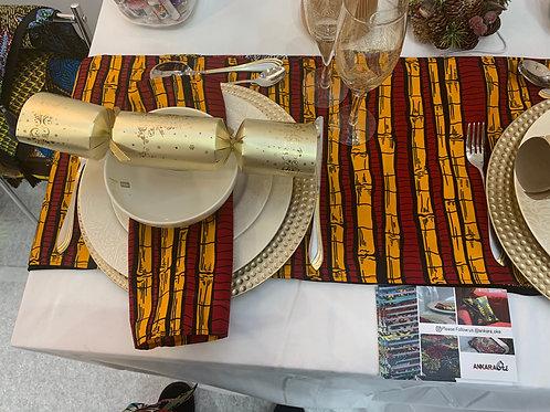 Ankara table runner with matching napkins