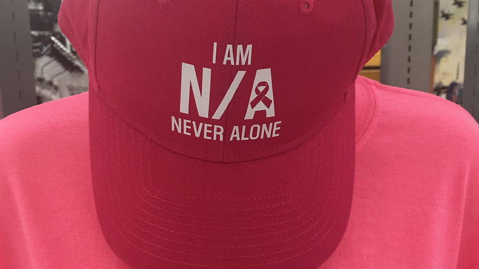 Small Version: I Am N/A Never Alone (Breast Cancer Awareness, Women)V-Neck