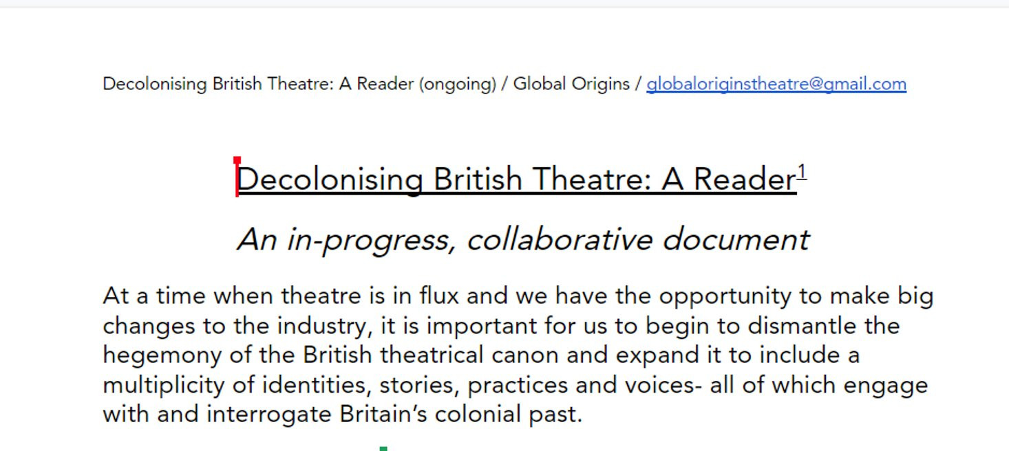 Decolonising British Theatre: A Reader