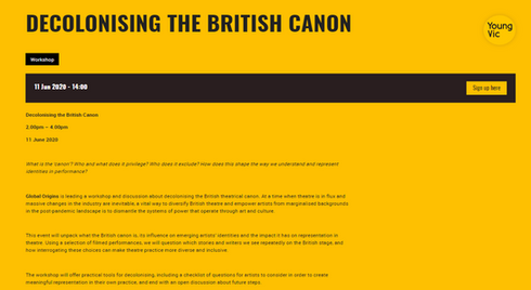 Young Vic Workshop-Decolonising The British Canon