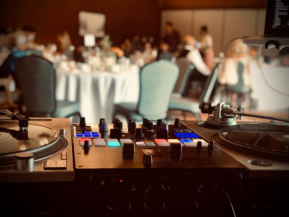dj mixer and turntables setup at Jasper Park Lodge