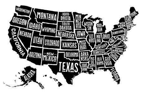 US States Names Map