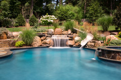 Waterfall, Slide, Spa with Spillover