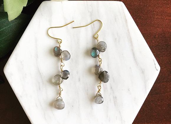 Gemstone Vine Drop Earrings