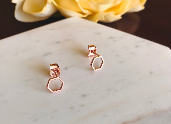 Signature Hex studs - Rose Gold