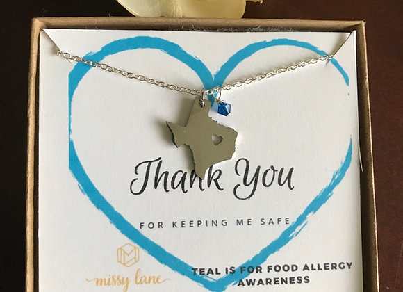 Texas Forever x Teal Allergy Awareness Necklace