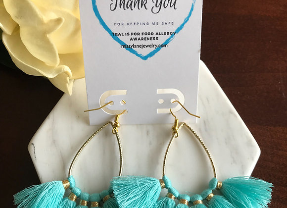 Teal Collection Allergy Awareness Tassel Earrings