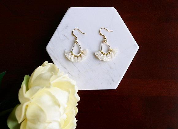 Cream Tiny Tassel Earrings