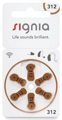 Батарейки к слуховым аппаратам | №312 Signia (Siemens) | 1 блистер (6 шт.)
