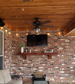 Cypress mantel and patio ceiling