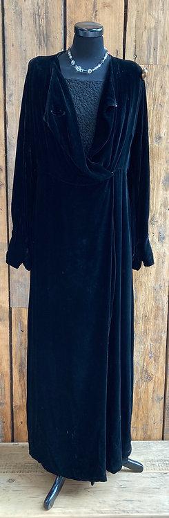 Original 1920's Black Velvet Opera Coat