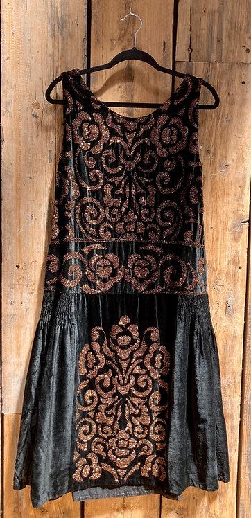 Original 1920's Velvet Beaded Floral Flapper Evening Dress