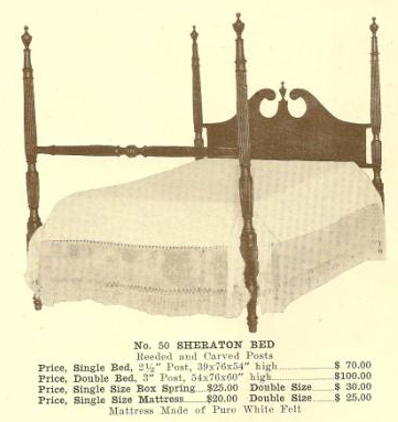 GFS- B13140 Sheraton Bed ~ Reeded & Carved Posts -