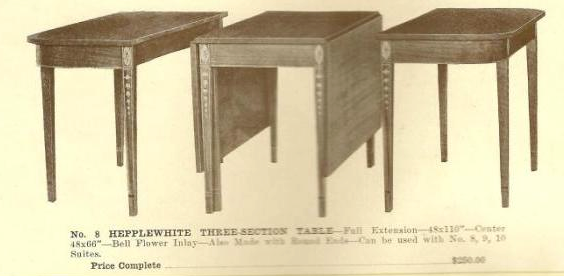 A13003 Hepplewhite Three-Section Table